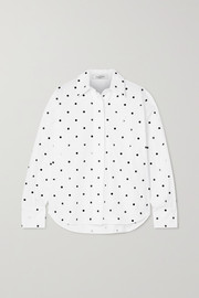Valentino Sequin-embellished polka-dot cotton-poplin shirt