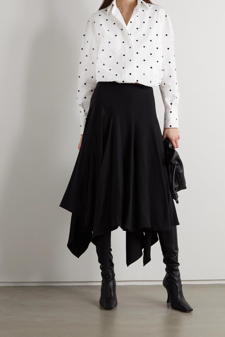 Valentino Sequin-embellished polka-dot cotton-poplin shirt