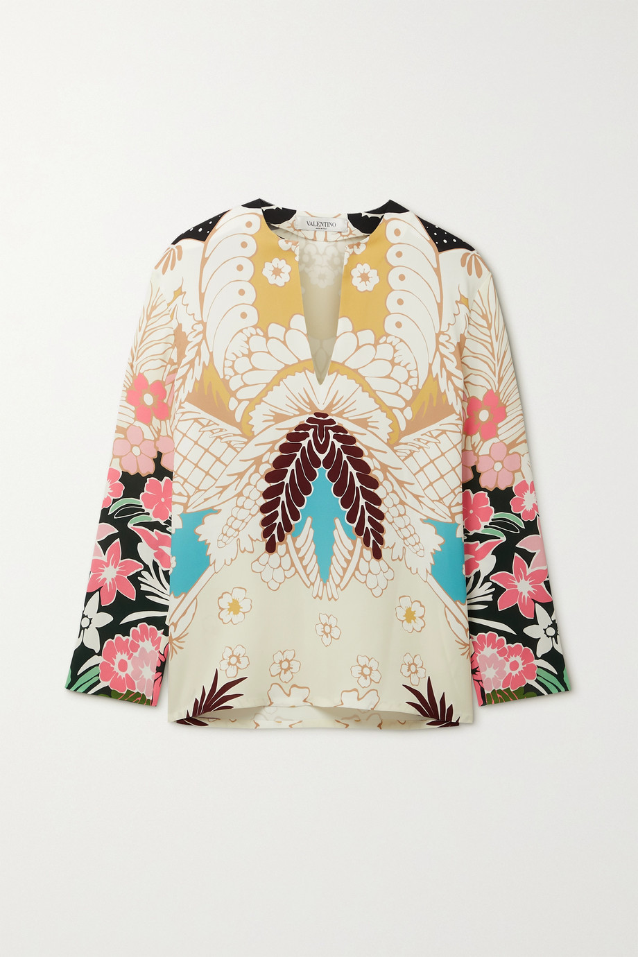 Valentino Floral-print silk-crepe blouse