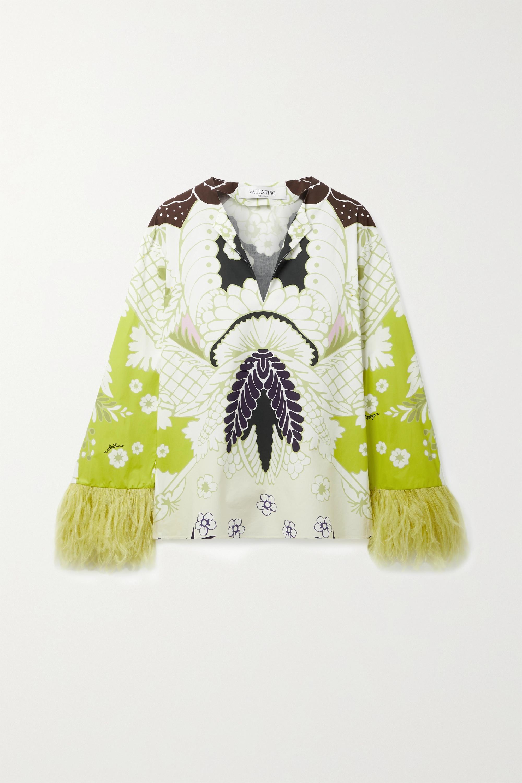 Valentino Bluse aus bedruckter Baumwollpopeline mit Federn