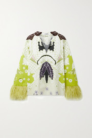 Valentino Feather-trimmed printed cotton-poplin blouse