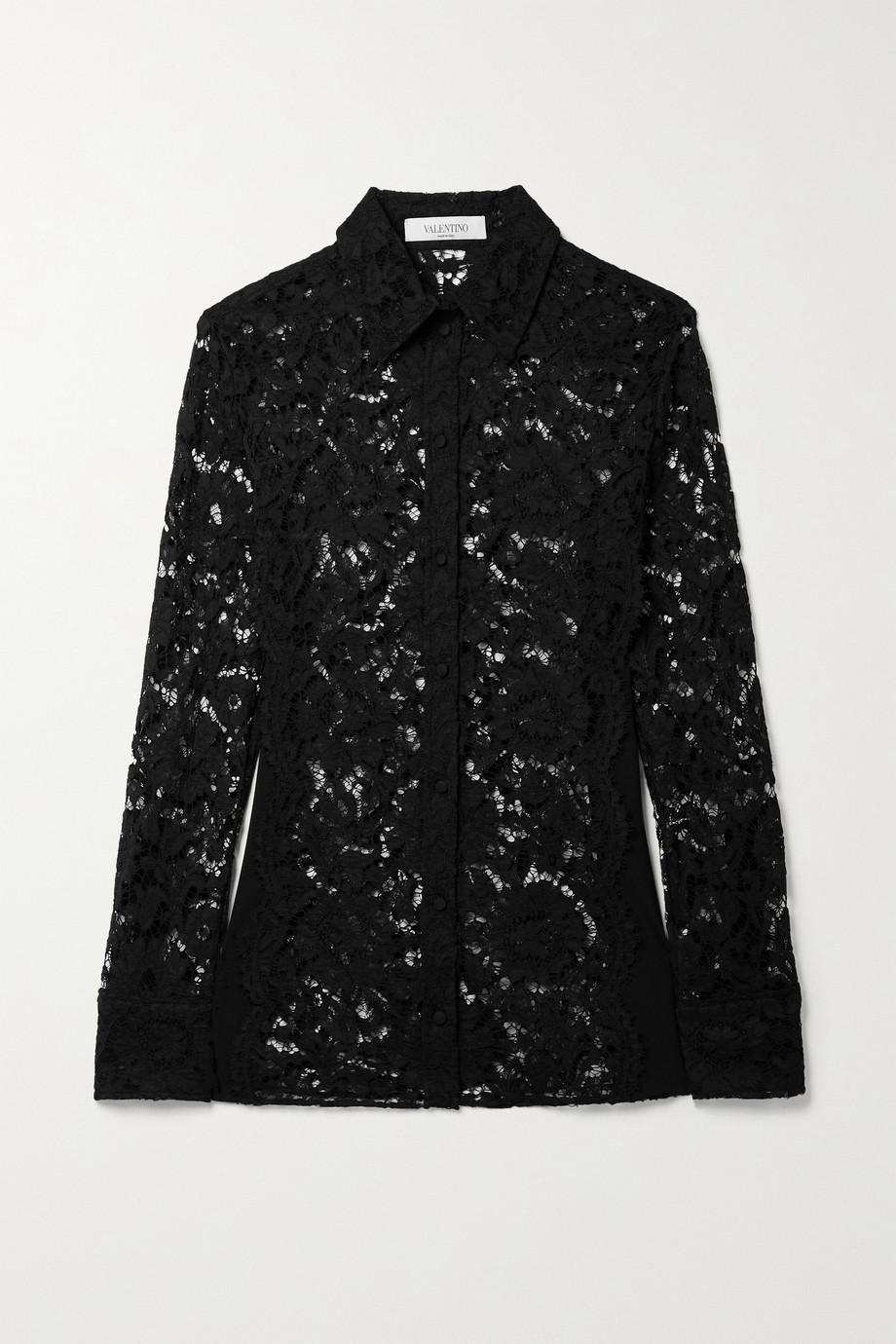 Valentino Chemise en dentelle cordonnet et en jersey