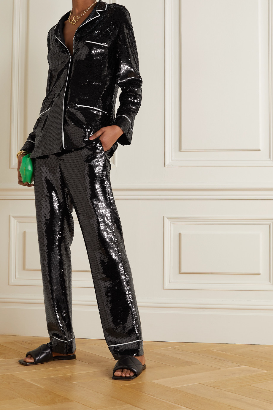 Valentino Hemd aus Stretch-Crêpe mit Pailletten und Paspeln
