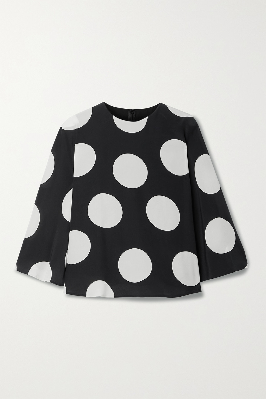 Valentino Cape-effect polka-dot silk-georgette blouse