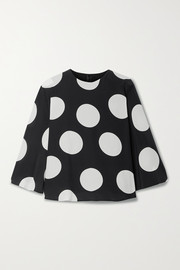 Valentino Cape-effect polka-dot silk-georgette blouse