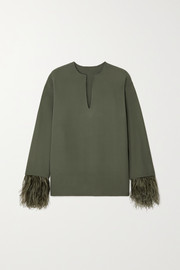 Valentino Feather-trimmed silk-crepe blouse