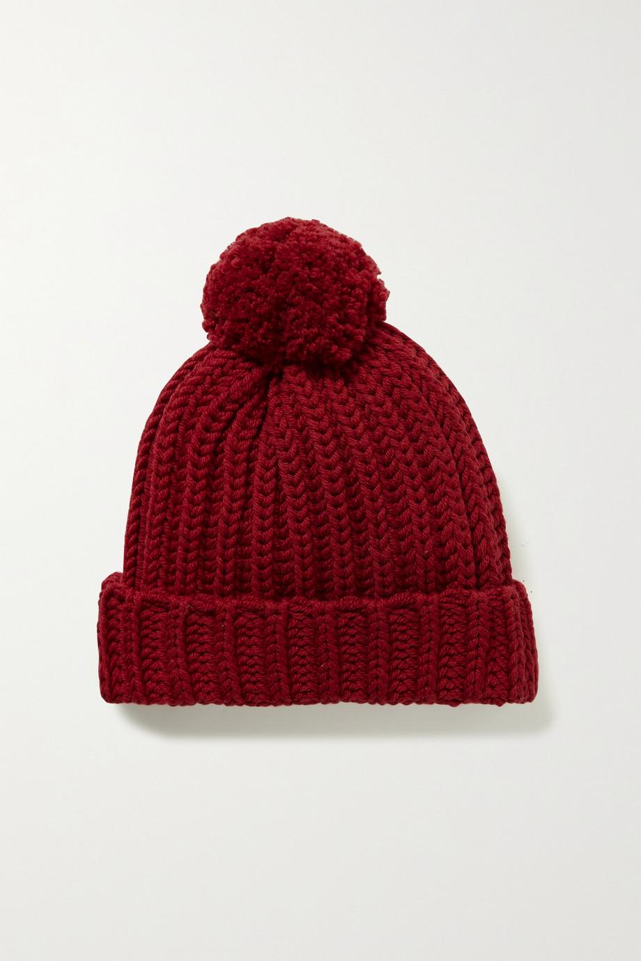 Gucci Bonnet en laine côtelée à pompon