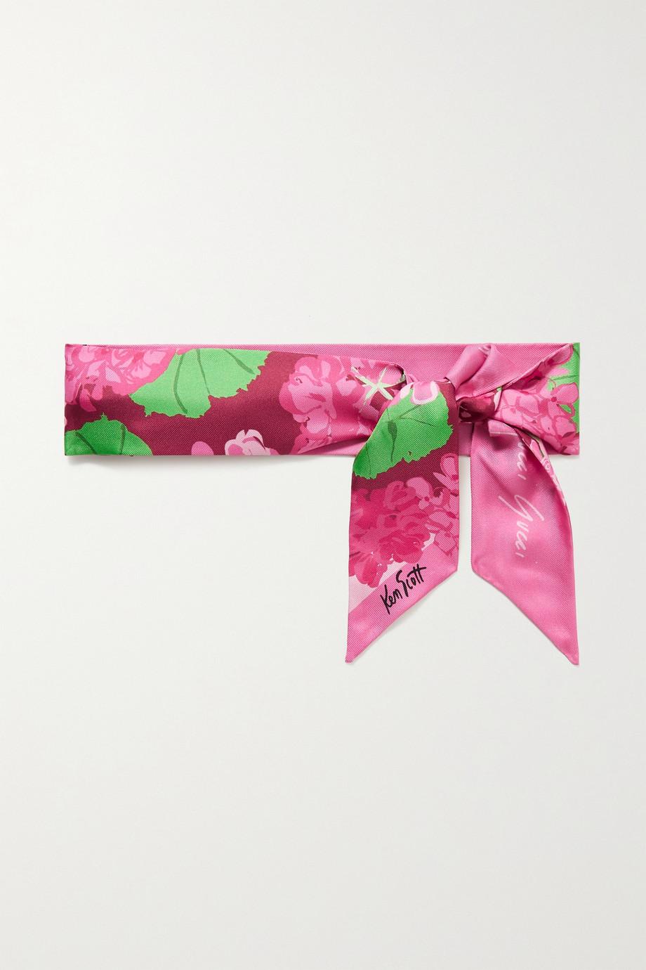 Gucci + NET SUSTAIN + Ken Scott Tuch aus Bioseiden-Twill mit Blumenprint