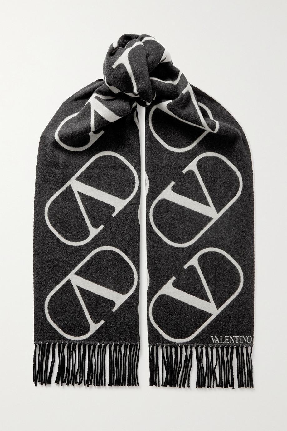 Valentino Valentino Garavani Schal aus einer Woll-Kaschmirmischung mit Intarsienmuster und Fransen