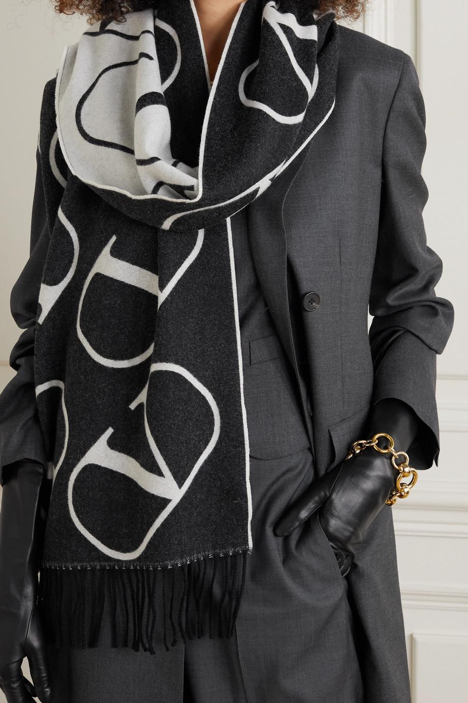 Valentino Valentino Garavani fringed intarsia wool and cashmere-blend scarf