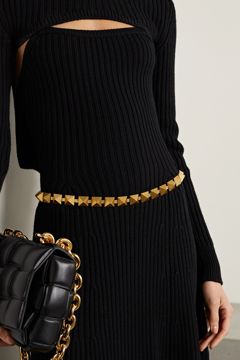 Valentino Valentino Garavani Roman studded gold-tone belt