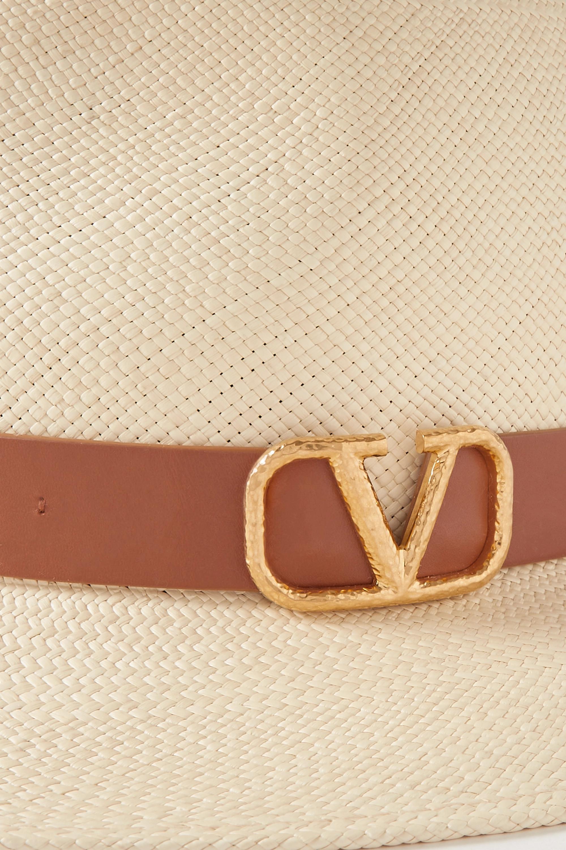 Valentino Valentino Garavani Fedora aus Stroh mit Lederbesatz