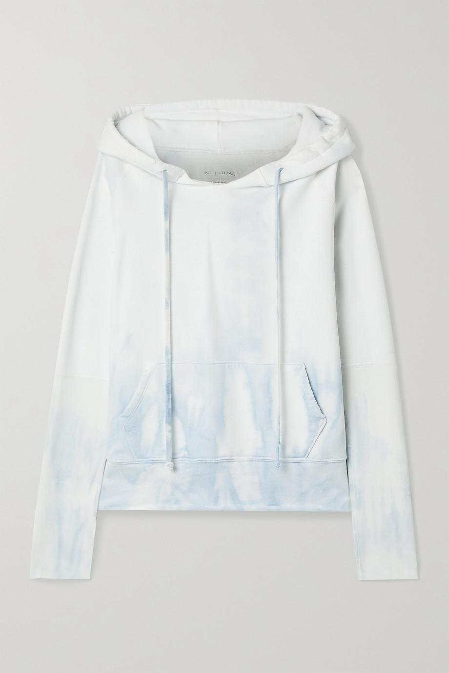 Nili Lotan Janie distressed tie-dyed cotton-jersey hoodie