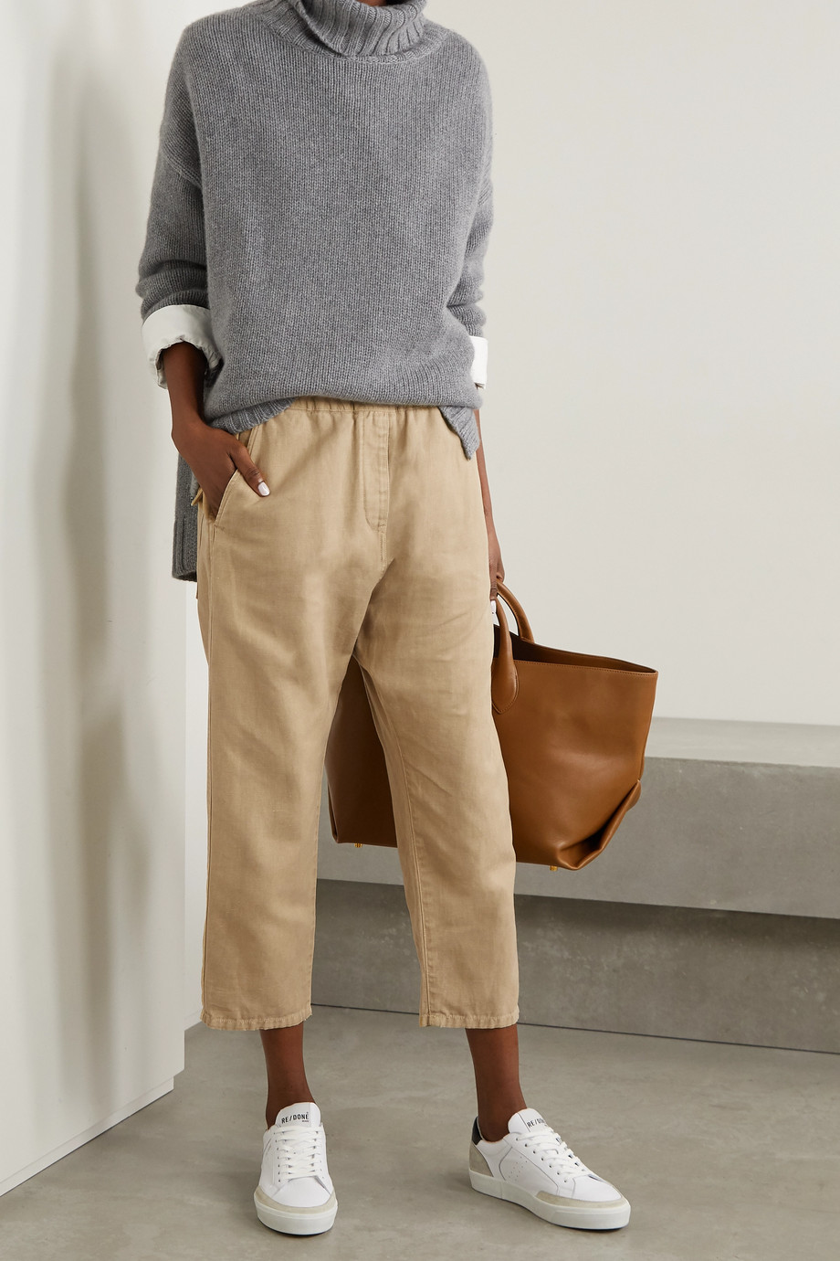 Nili Lotan Casablanca cropped cotton and linen-blend twill tapered pants