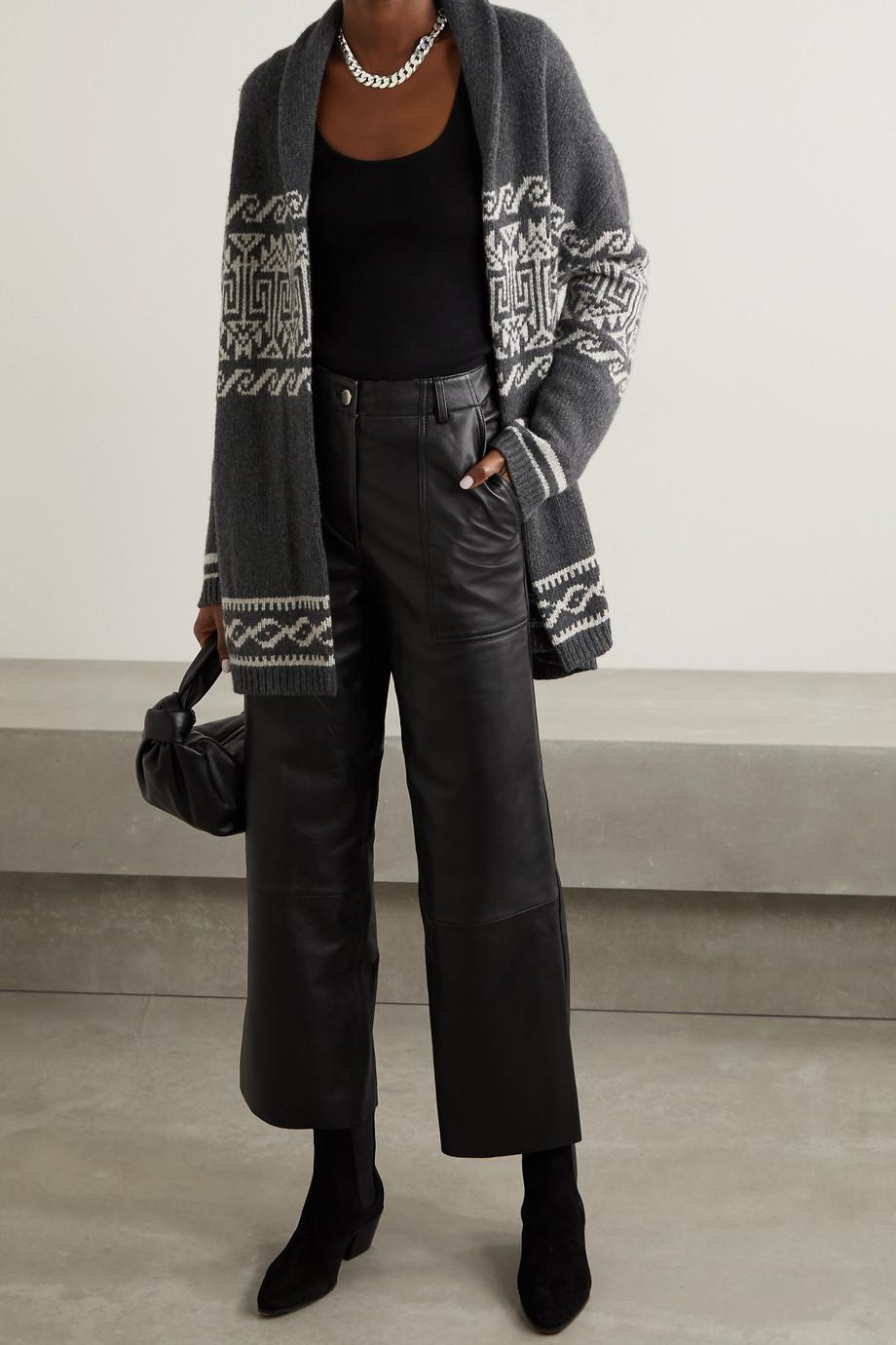 Nili Lotan Liliana belted wool-blend jacquard cardigan