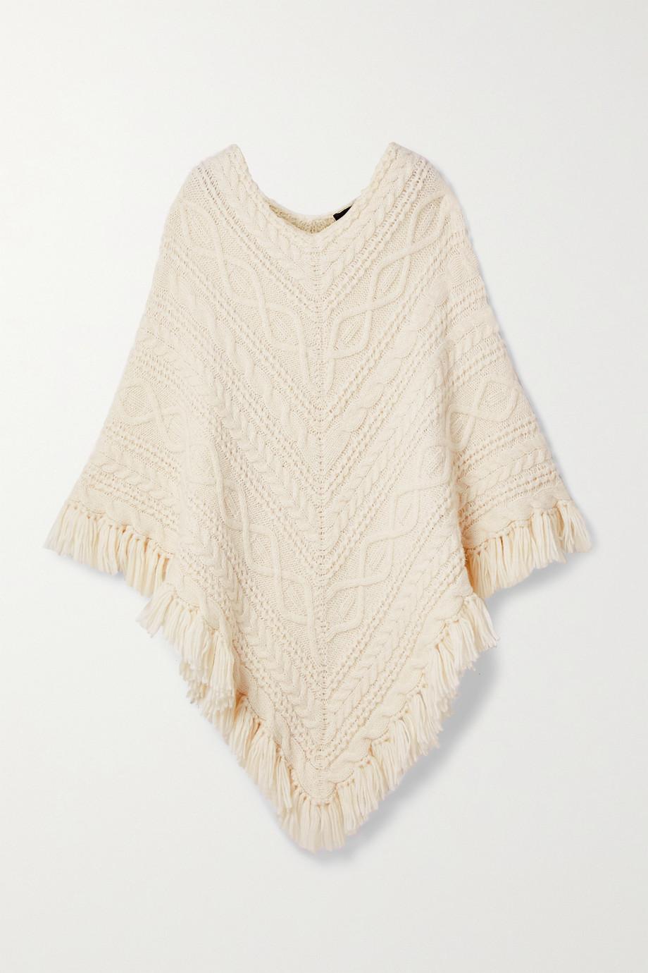 Nili Lotan Pauline fringed cable-knit alpaca-blend poncho