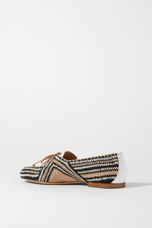 Gabriela Hearst Hays Loafers aus gehäkelter Baumwolle und Leder mit Krokodileffekt
