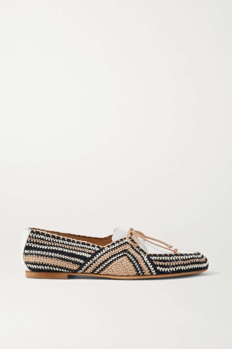 Gabriela Hearst Hays crocheted cotton and croc-effect leather loafers