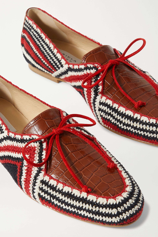 Gabriela Hearst Mocassins en coton crocheté et en cuir effet croco Hays
