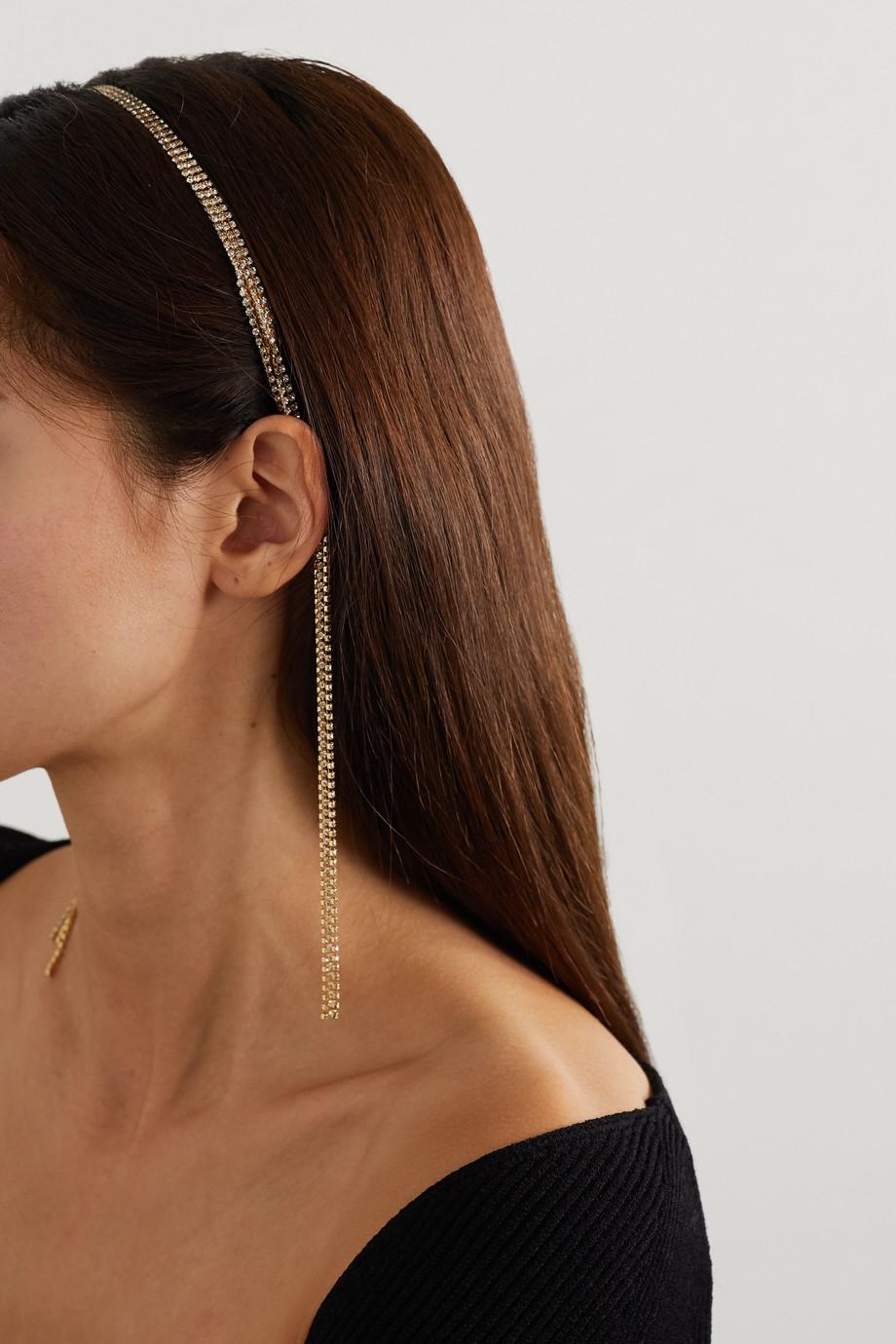 Rosantica Madeleine tasseled gold-tone crystal headband