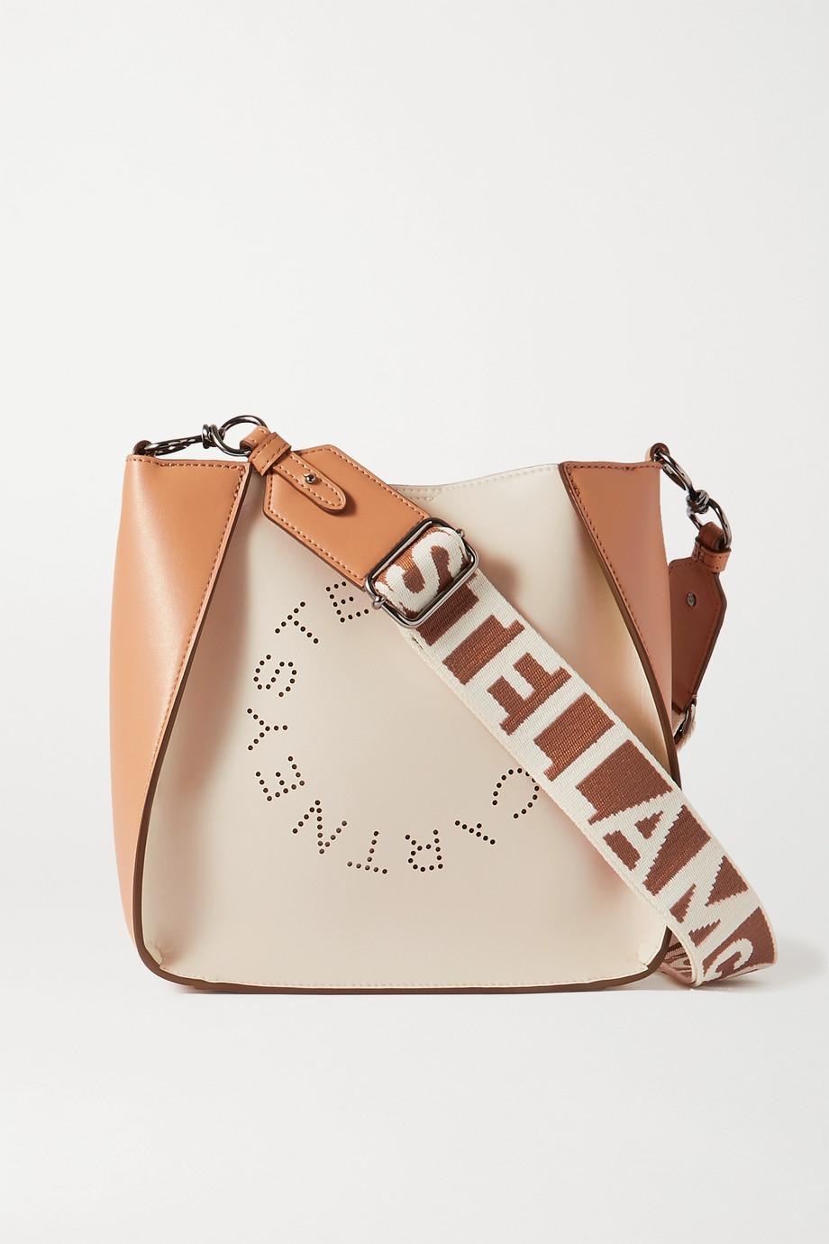Stella McCartney Mini zweifarbige Schultertasche aus Kunstleder mit Perforationen
