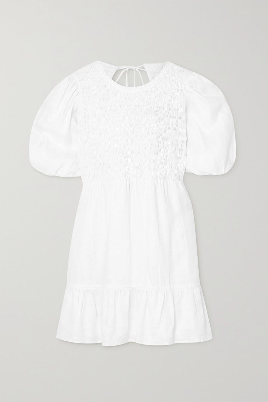 Faithfull The Brand + NET SUSTAIN Lorica open-back shirred linen mini dress