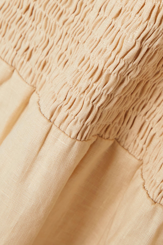 Faithfull The Brand Robe midi dos ouvert en lin à smocks Alberte - NET SUSTAIN