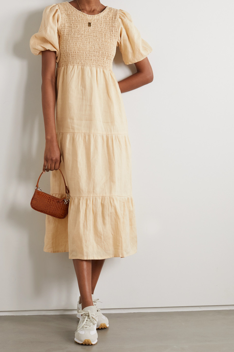 Faithfull The Brand + NET SUSTAIN Alberte open-back shirred linen midi dress