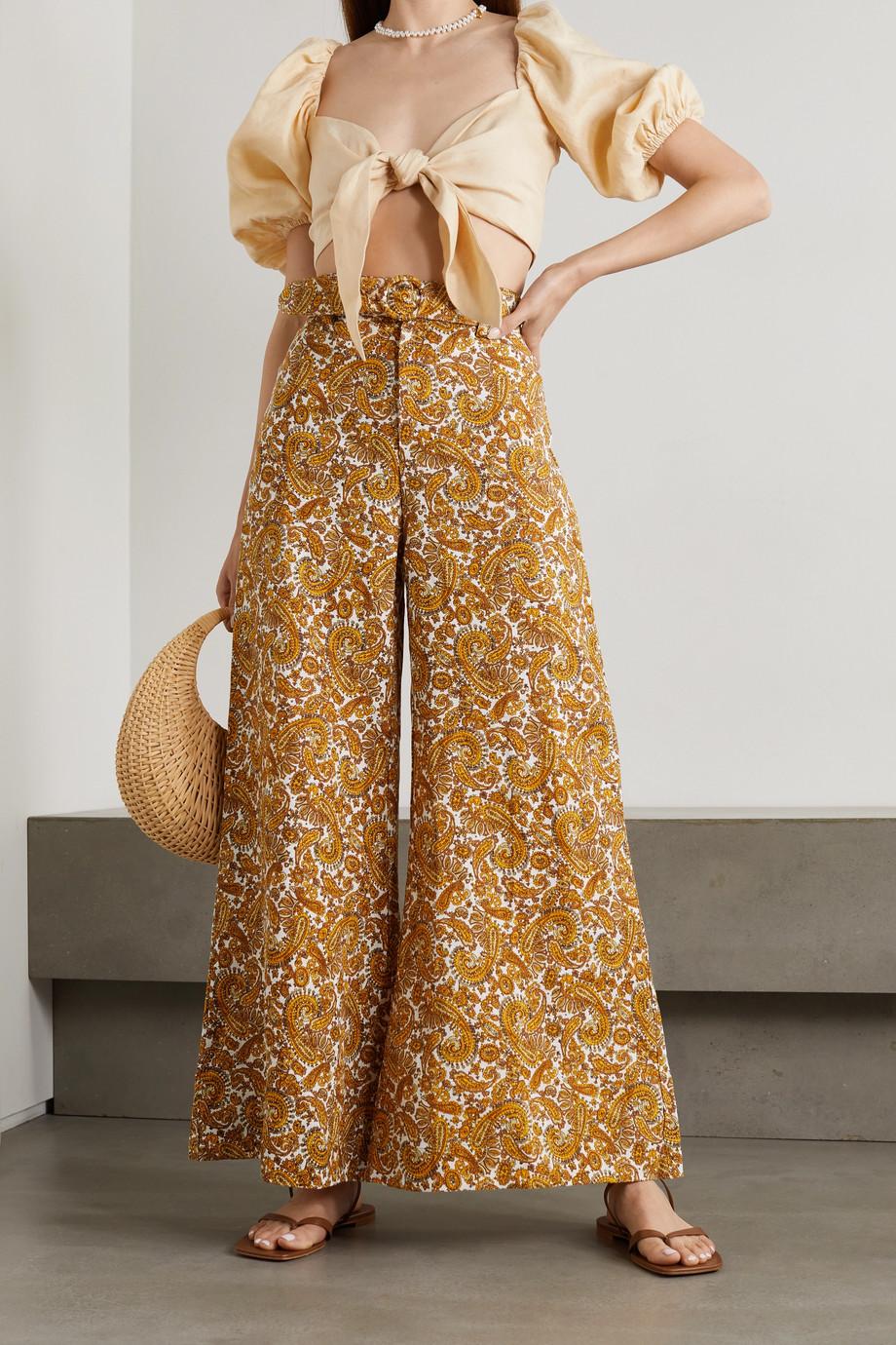 Faithfull The Brand + NET SUSTAIN Manuela belted paisley-print linen wide-leg pants