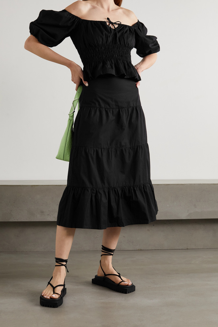 Faithfull The Brand + NET SUSTAIN Venetia shirred cotton-poplin top