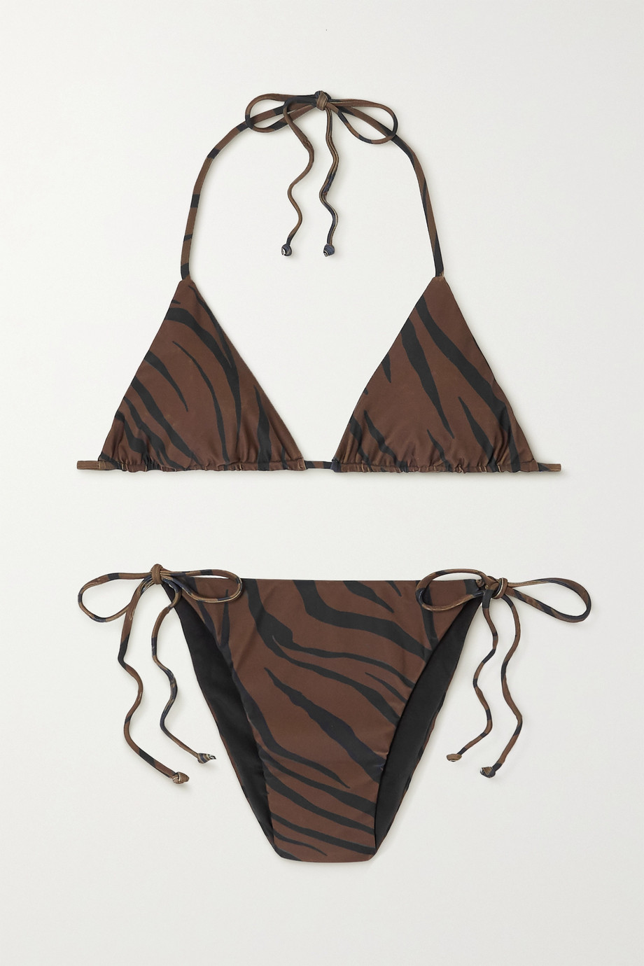 Faithfull The Brand + NET SUSTAIN tiger-print triangle halterneck bikini
