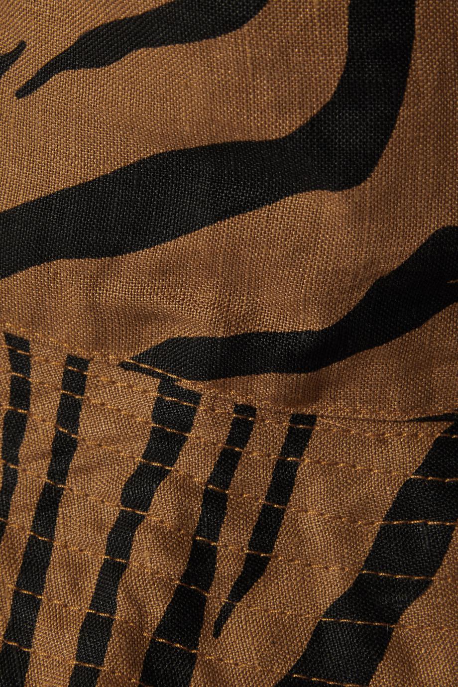 Faithfull The Brand + NET SUSTAIN Bettina Sonnenhut aus Leinen mit Tigerprint