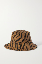 Faithfull The Brand + NET SUSTAIN Bettina tiger-print linen sunhat