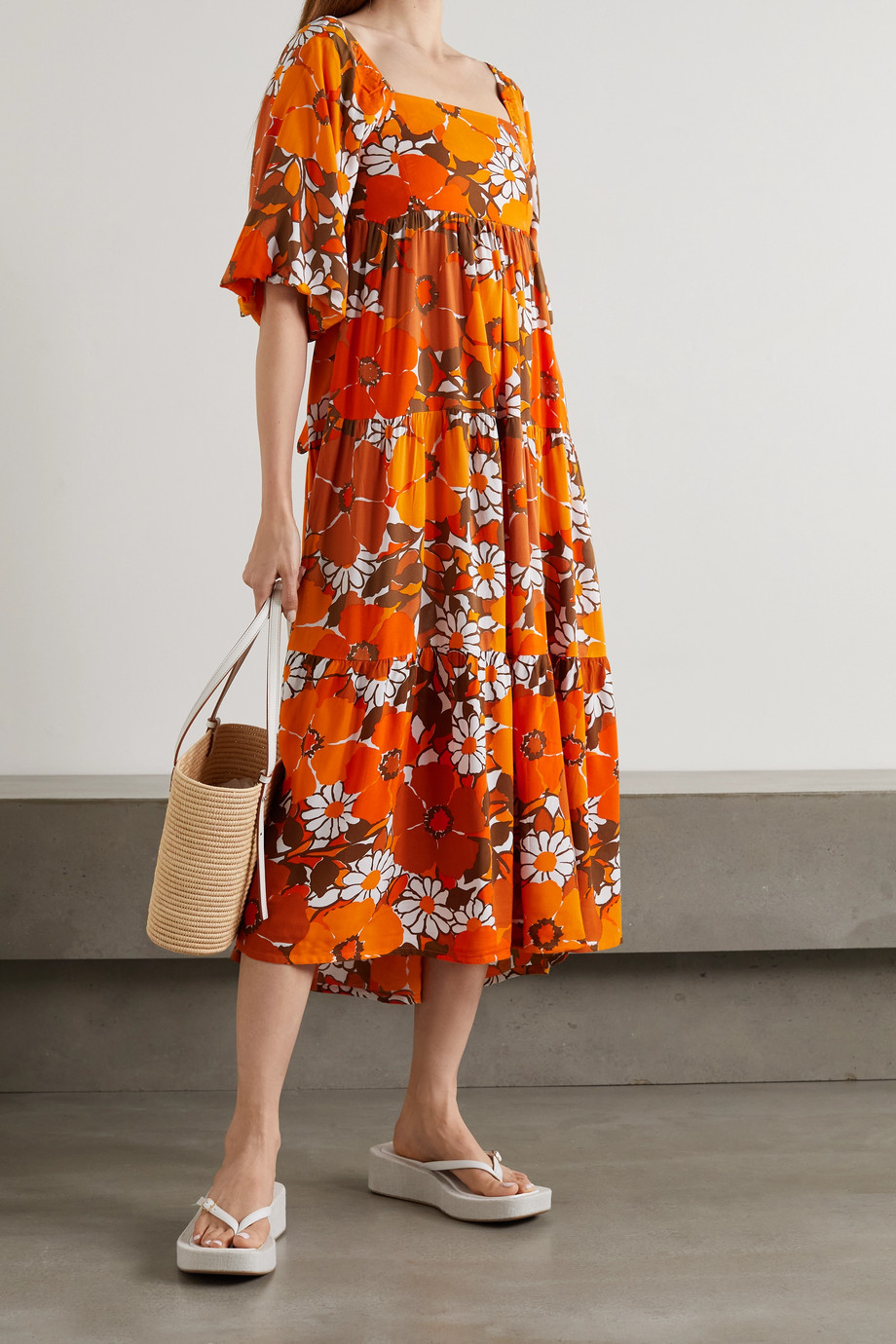 Faithfull The Brand + NET SUSTAIN Kiona tie-detailed tiered floral-print voile midi dress