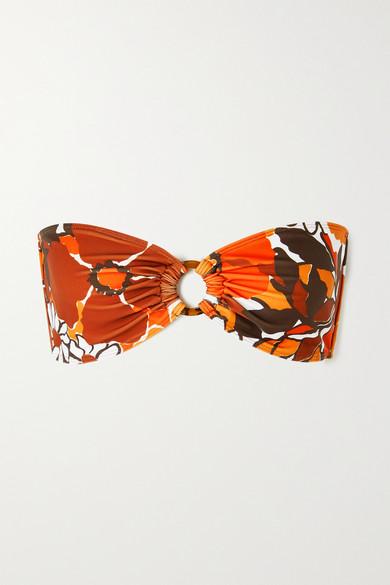 Faithfull The Brand Net Sustain Malady Floral-print Bandeau Bikini Top In Orange