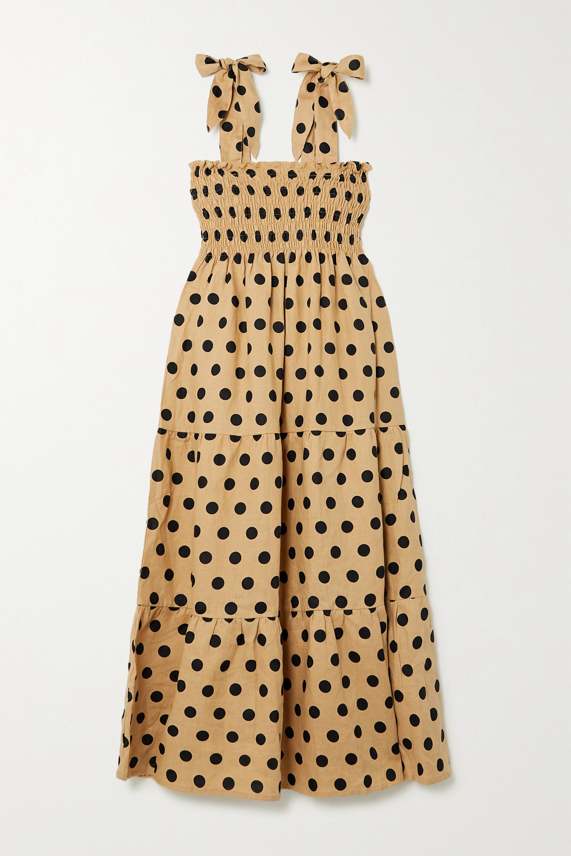 Faithfull The Brand + NET SUSTAIN Rianne tie-detailed polka-dot linen midi dress