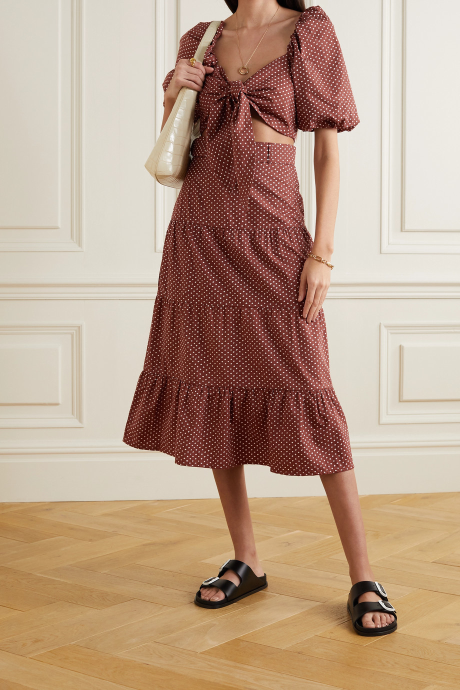Faithfull The Brand + NET SUSTAIN Farida belted polka-dot cotton-poplin midi skirt