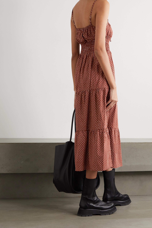 Faithfull The Brand + NET SUSTAIN Canyon tiered shirred polka-dot cotton-poplin midi dress