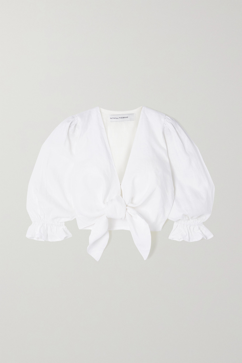 Faithfull The Brand + NET SUSTAIN Jacinta cropped tie-front linen top
