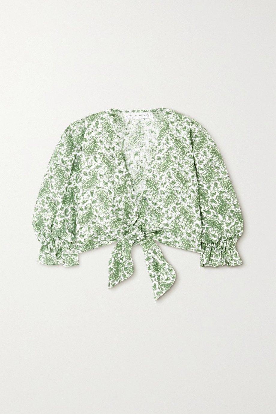 Faithfull The Brand + NET SUSTAIN Jacinta cropped tie-front paisley-print linen top