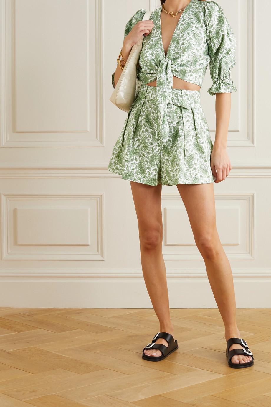 Faithfull The Brand + NET SUSTAIN Ondine Shorts aus Leinen mit Paisley-Print und Gürtel