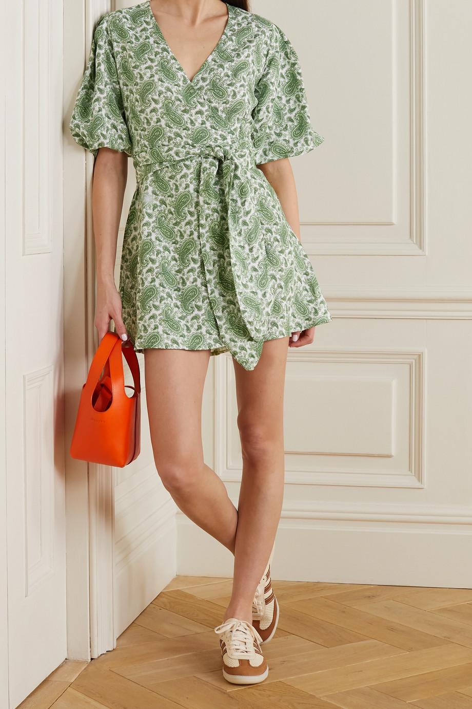 Faithfull The Brand + NET SUSTAIN Godiva paisley-print linen mini wrap dress