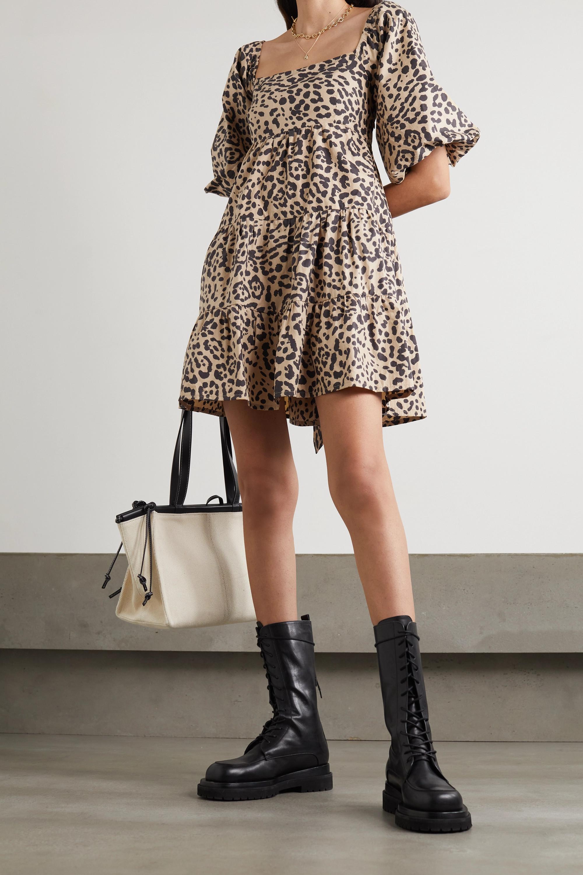 Faithfull The Brand + NET SUSTAIN Eryn tie-detailed tiered leopard-print cotton-poplin mini dress