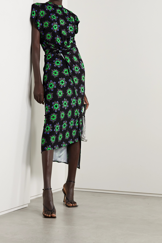 Paco Rabanne Asymmetric gathered floral-print stretch-jersey dress