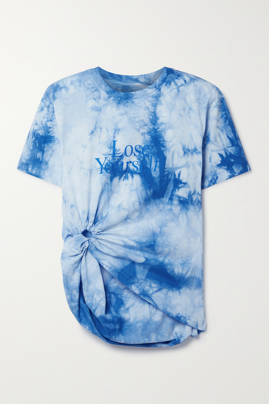 Paco Rabanne + Peter Saville knotted printed tie-dyed cotton-jersey T-shirt