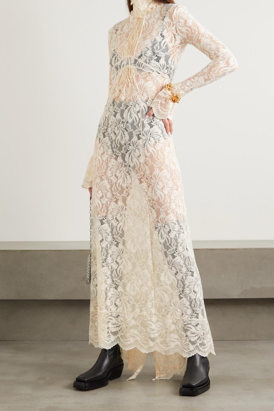 Paco Rabanne Ruffled lace turtleneck maxi dress