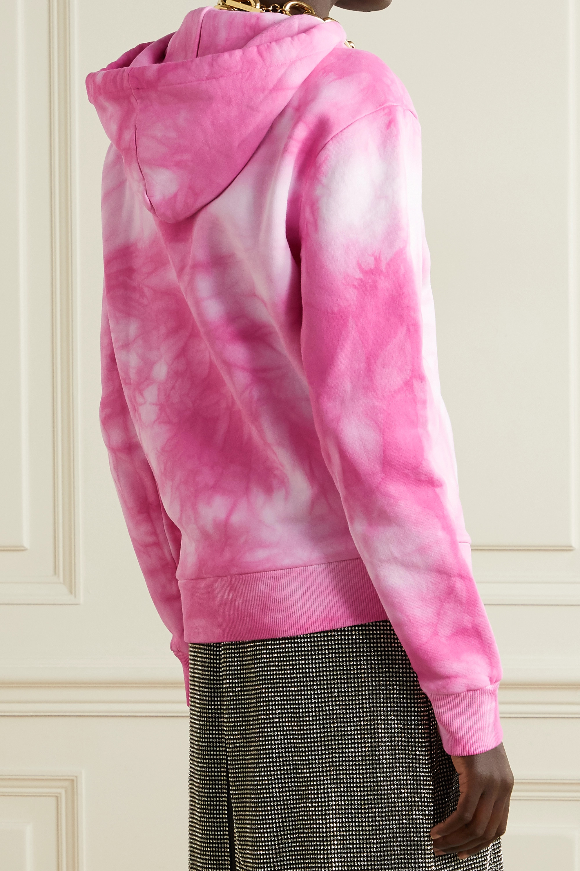 Paco Rabanne + Peter Saville printed tie-dyed cotton-jersey hoodie