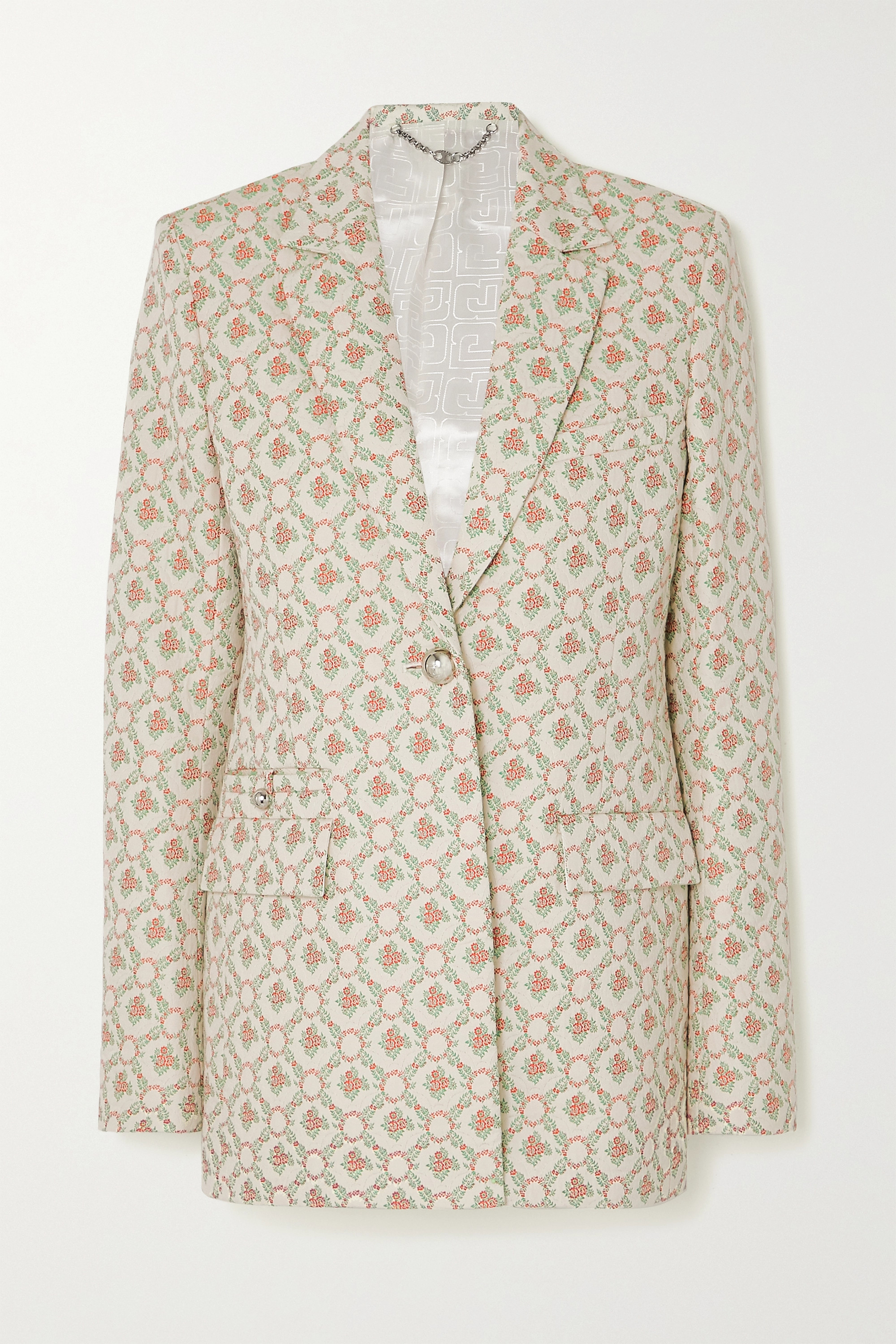 Paco Rabanne Quilted Cotton-blend Floral-jacquard Blazer In Beige