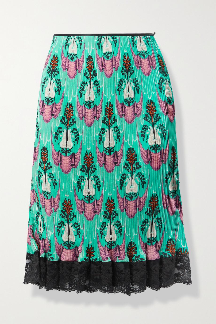 Paco Rabanne Lace-trimmed printed plissé-crepe de chine skirt