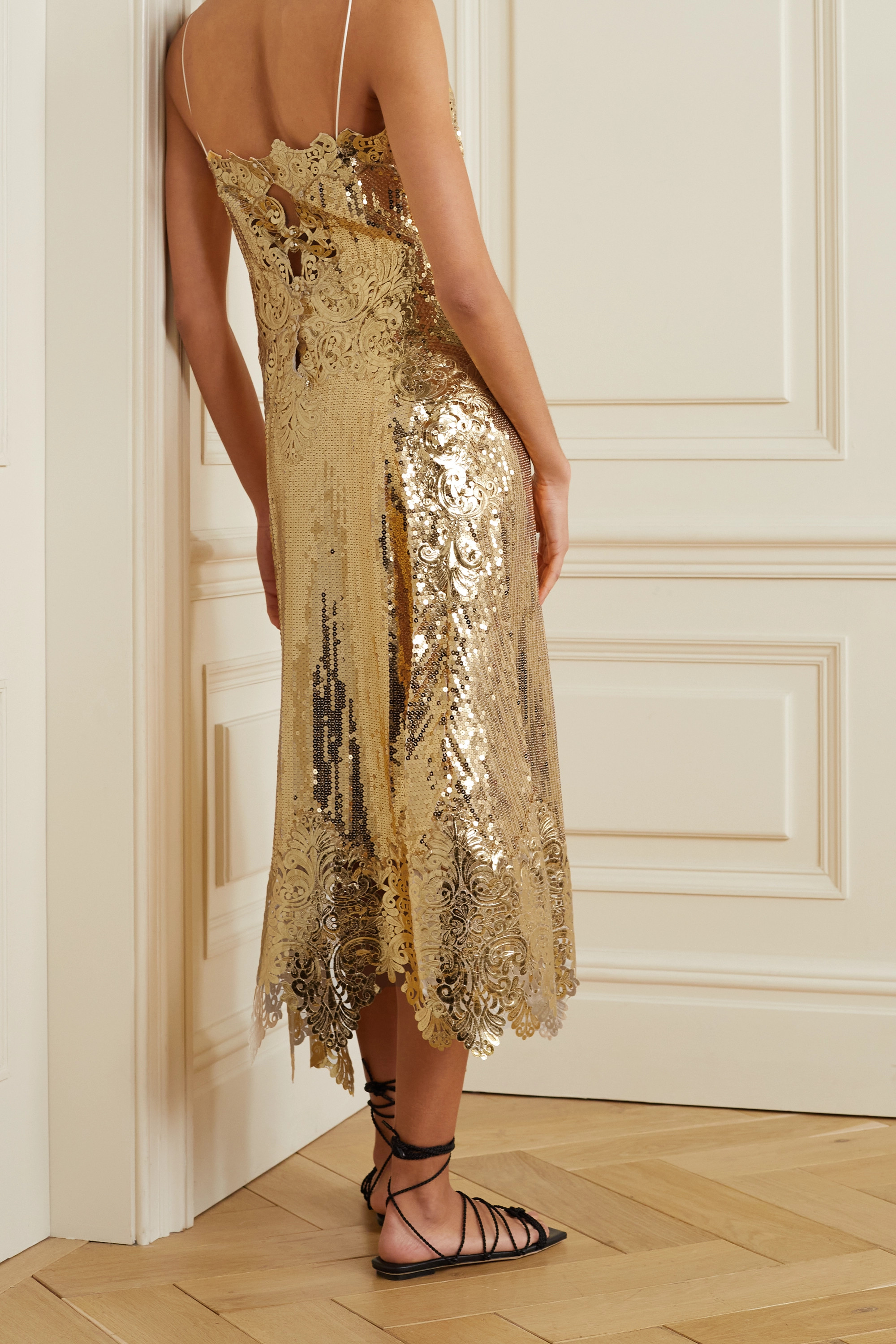 Paco Rabanne Asymmetric metallic guipure lace-trimmed sequined georgette midi dress